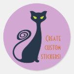 Vampire Cat With Green Eyes Classic Round Sticker