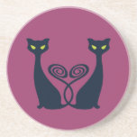 Vampire Cat With Green Eyes Duo Drink Coasters