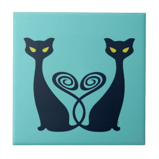 Vampire Cat With Green Eyes Duo Small Square Tile