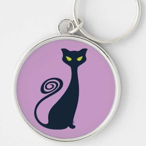 Vampire Cat With Green Eyes Silver-Colored Round Keychain