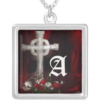 Vampire Cross Gothic Monogram Necklace