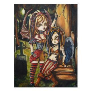 Vampire Dark Angel Gothic Graveyard Art Postcard