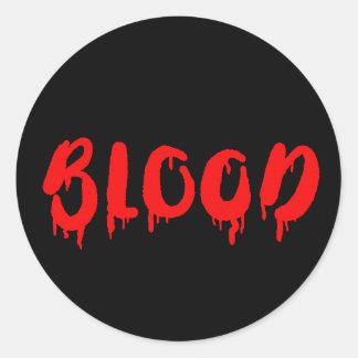 Vampire dripping blood Halloween label