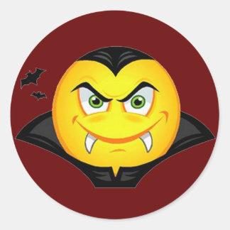 Vampire Emoticom Classic Round Sticker