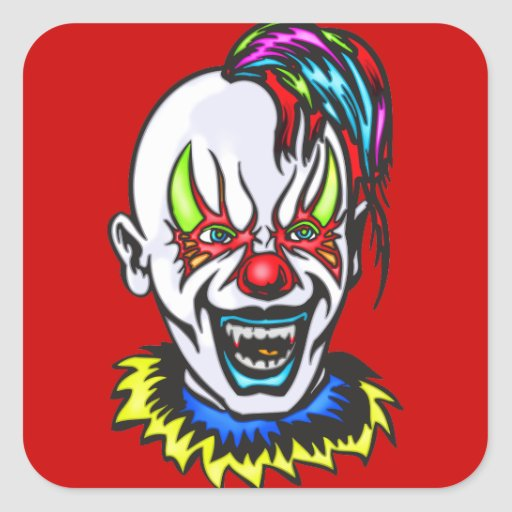 Vampire Evil Clown Square Sticker
