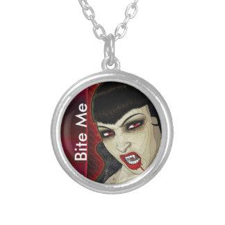 Vampire face bite me blood round pendant necklace