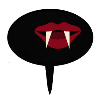 Vampire Fangs Blood Red Lips Cake Topper