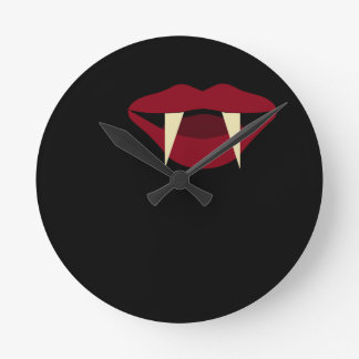 Vampire Fangs Blood Red Lips Round Clock