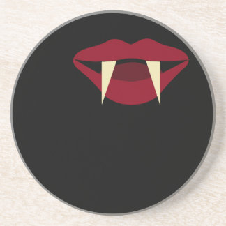 Vampire Fangs Blood Red Lips Sandstone Coaster