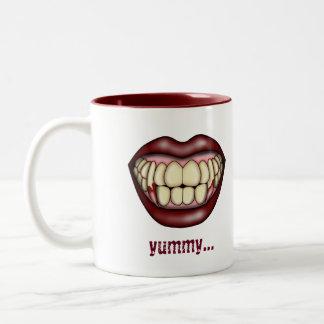 Vampire Fangs   Blood Red Lips   Yummy Two-Tone Coffee Mug