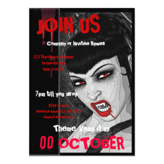 Vampire fangs PERSONALIZE 5x7 Paper Invitation Card