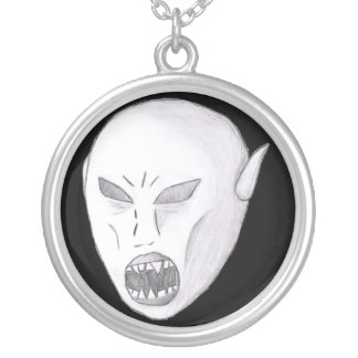 Vampire Ghoul Sketch Round Pendant Necklace