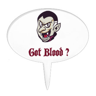 Vampire Got Blood Design Cake Topper