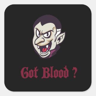 Vampire Got Blood Design Square Sticker