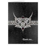 Vampire Goth Faux Leather Jeweled Wedding Stationery Note Card