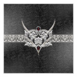 Vampire Goth Faux Leather Jeweled Wedding 5.25x5.25 Square Paper Invitation Card
