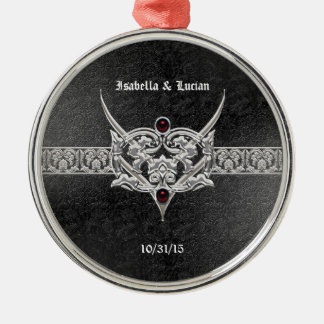 Vampire Goth Faux Leather Jeweled Wedding Ornament