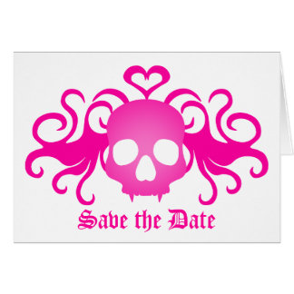 Vampire goth skull in pink, Save the Date Card
