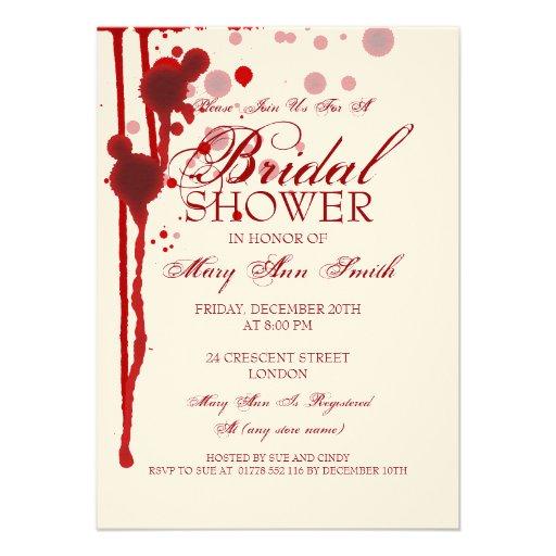 Vampire Halloween Bridal Shower Fake Blood Red Invitations