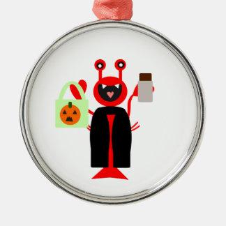 Vampire Halloween Lobster Round Metal Christmas Ornament