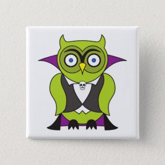 Vampire Halloween Owl Button