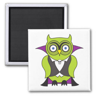 Vampire Halloween Owl 2 Inch Square Magnet