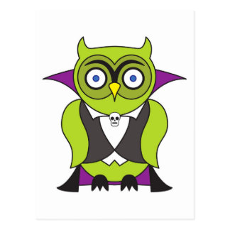 Vampire Halloween Owl Postcard