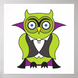 Vampire Halloween Owl Posters