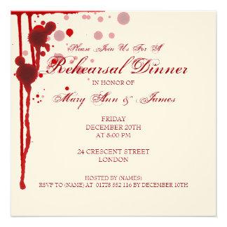Vampire Halloween Rehearsal Dinner Fake Blood Red Custom Announcement