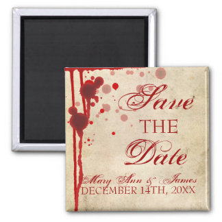 Vampire Halloween Save The Date Fake Blood Red 2 Inch Square Magnet
