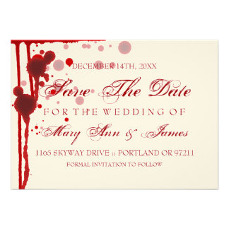 Vampire Halloween Save The Date Fake Blood Red Custom Announcements