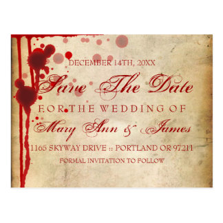 Vampire Halloween Save The Date Fake Blood Red Postcard