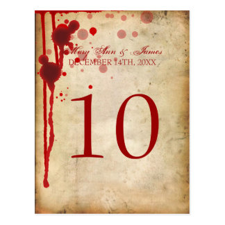 Vampire Halloween Table Number Fake Blood Red Postcard