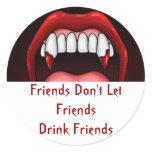 Vampire Halloween Teeth Classic Round Sticker