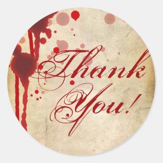 Vampire Halloween Thank You Wedding Fake Blood Red Classic Round Sticker