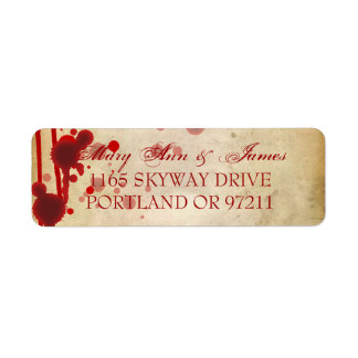 Vampire Halloween Wedding Address Fake Blood Red Label