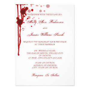 Vampire Halloween Wedding Fake Blood Red Invitation