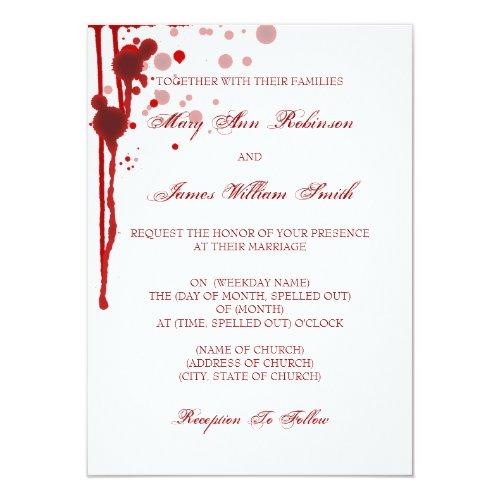 Vampire Halloween Wedding Fake Blood Red 4.5x6.25 Paper Invitation Card