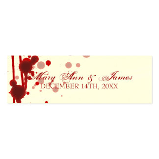 Vampire Halloween Wedding Favor Tag Fake Blood Red Double-Sided Mini Business Cards (Pack Of 20)