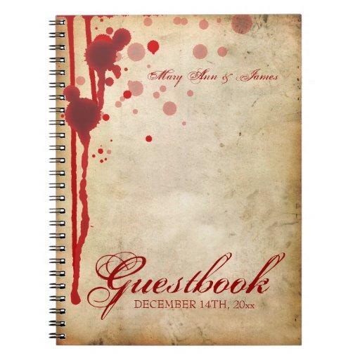 Vampire Halloween Wedding Guestbook Fake Blood Red Spiral Note Book