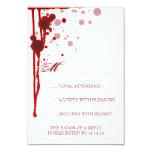 "Vampire Halloween Wedding RSVP Fake Blood Red 3.5"" X 5"" Invitation Card"