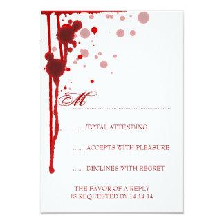 Vampire Halloween Wedding RSVP Fake Blood Red 3.5x5 Paper Invitation Card