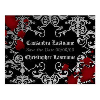 Vampire Halloween wedding | Save the date Postcard