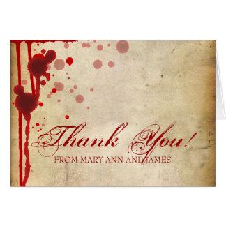 "Vampire Halloween Wedding ""Thank you"" Fake Blood Card"
