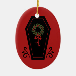 Vampire Holiday Coffin Double-Sided Oval Ceramic Christmas Ornament