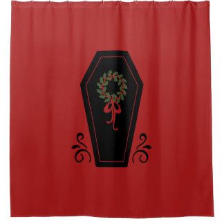 Vampire Holiday Coffin Shower Curtain
