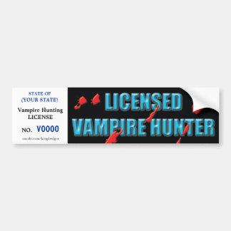 Vampire Hunting license w/ blood spatters Bumper Sticker