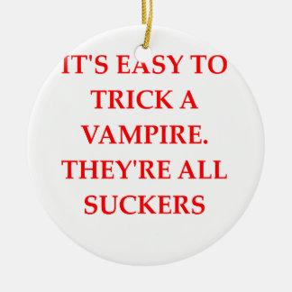 vampire joke Double-Sided ceramic round christmas ornament