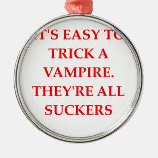 vampire joke round metal christmas ornament