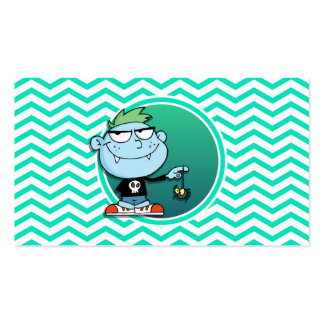 Vampire Kid; Aqua Green Chevron Double-Sided Standard Business Cards (Pack Of 100)